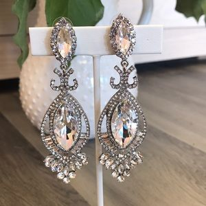 """Jewelry - Silver & Rhinestone 3.5"""" Drop Earrings"""